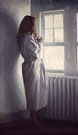 "Gabrielle by the Window - Oil on canvas 24"" x 12"""