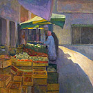 "Market in Carpentras, Provence - Oil on panel, 36"" x 36"""
